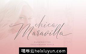 纤细的手绘字体 Chica Maravilla #2183878
