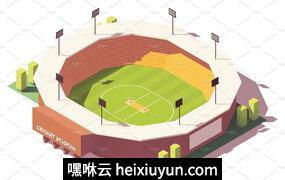 体育场场地插画设计素材Vector isometric low poly cricket stadium