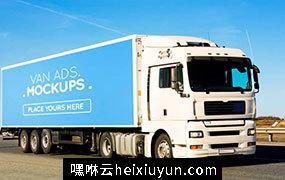 厢式货车广告展示模型Van Signage Mockup #1470006