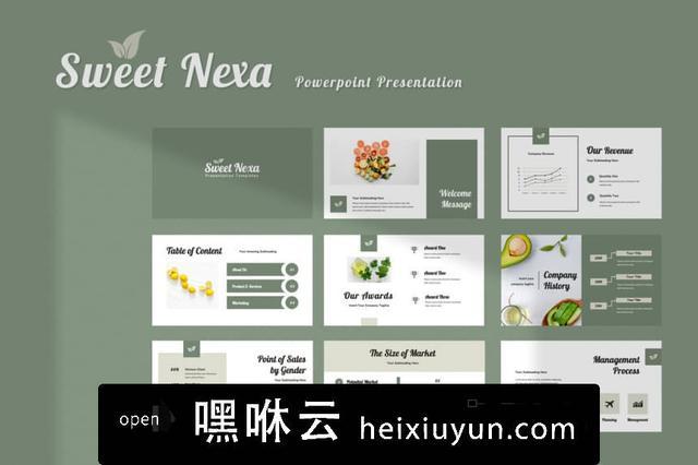 嘿咻云-高级灰豆绿干净现代简单Sweet Nexa Powerpoint  #335399