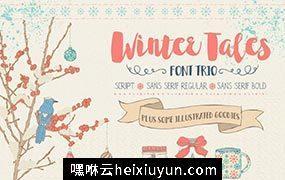 冬季味道的字体图形素材 Winter Tales – cozy font trio #1052777