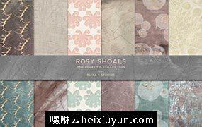 玫瑰金水彩背景纹理 Rosy Shoals Gold #1282586