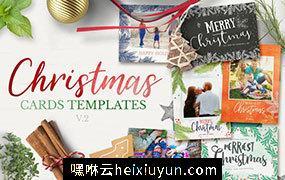 圣诞主题圣诞贺卡请柬设计模板 Christmas-Cards-Template-v2 #1864158