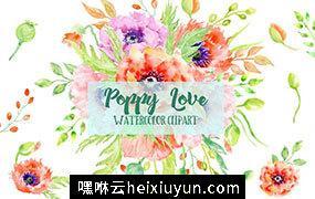 创意水彩花卉爱心 Watercolor Poppy Love #575350