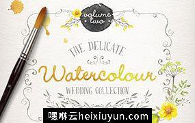 手绘水彩花卉婚礼剪贴画素材合集 Watercolor wedding collection vol 2