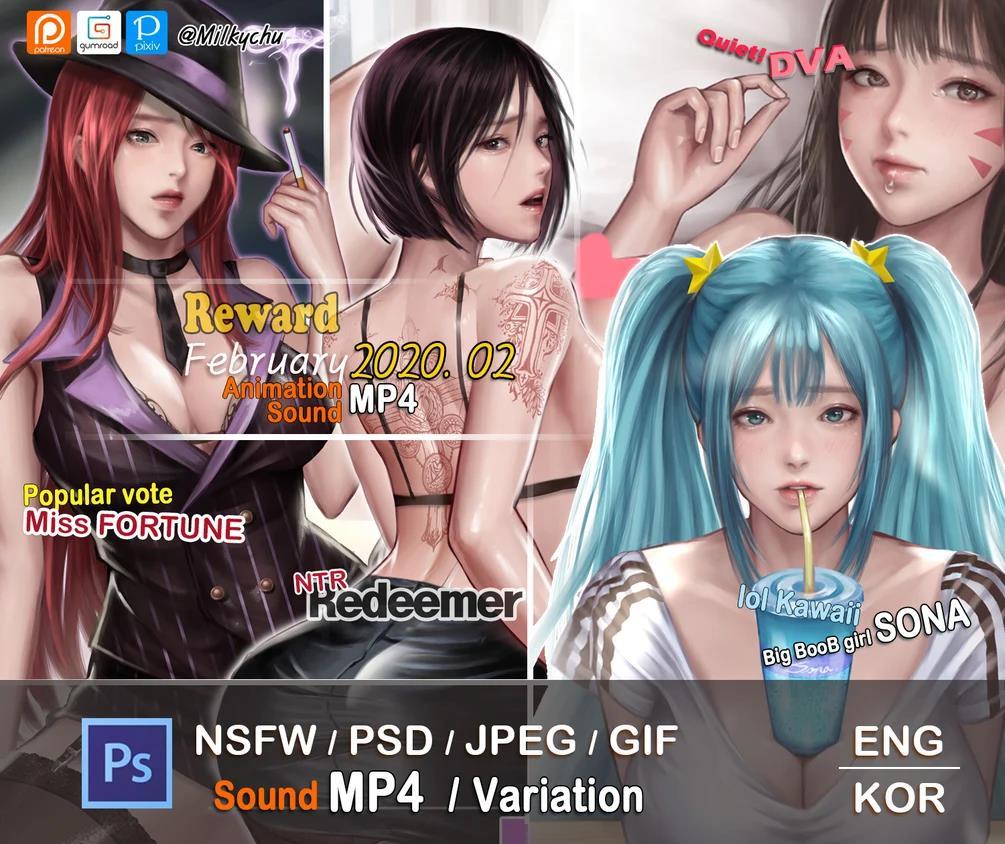 韩国画师Milkychu 2020年02月插画作品