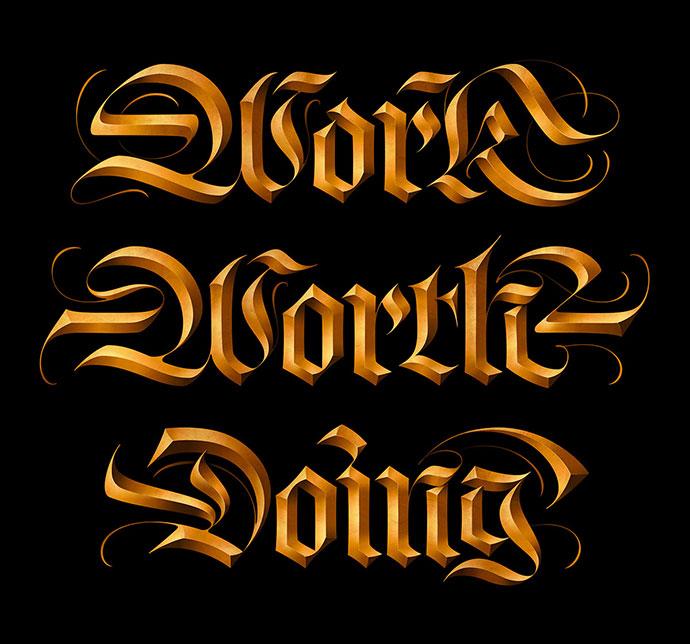20款高贵的3D金色艺术文字设计作品