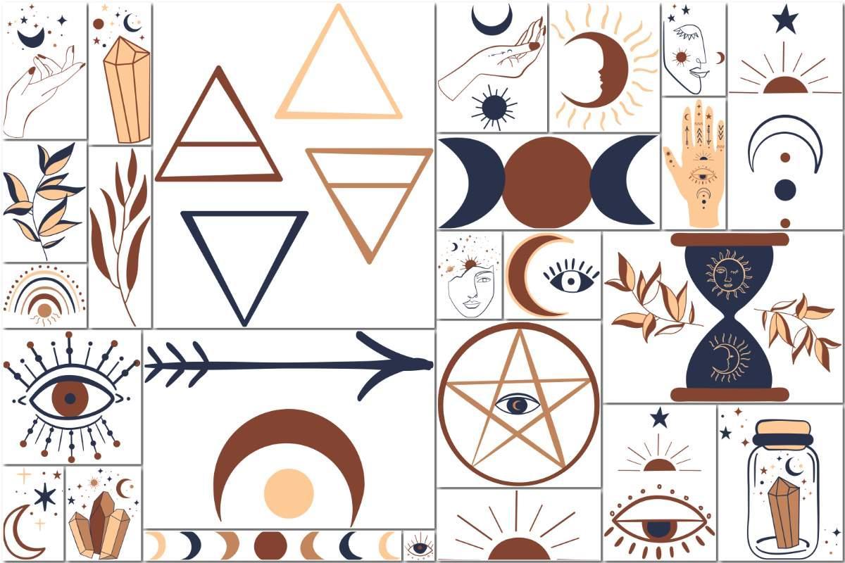 矢量图形-25P 天文学炼金术魔法巫术 主题剪贴画手绘元素图标矢量素材(3)