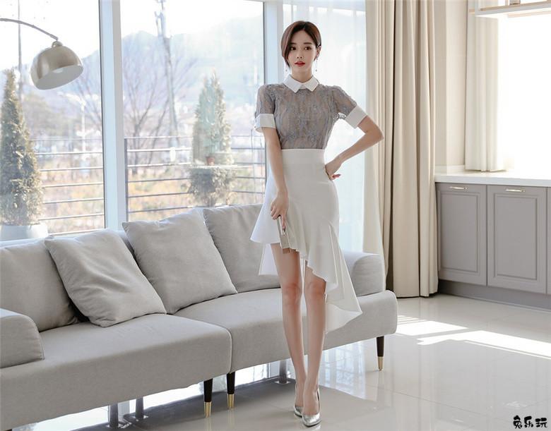 孙允珠:灰黛青丝苔纹翻领不规则长裙