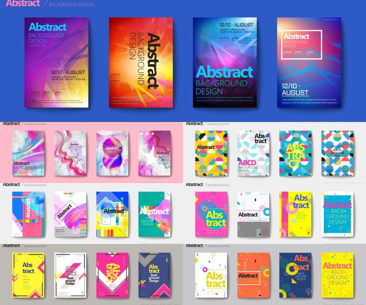 矢量图形-112款抽象视觉几何创意平面广告海报背景AI矢量素材(6)